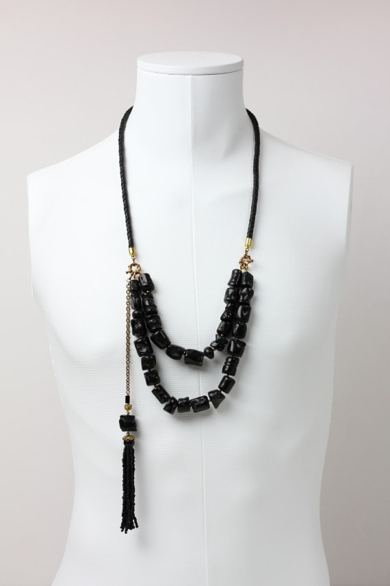 Black coral transformable tassel necklace