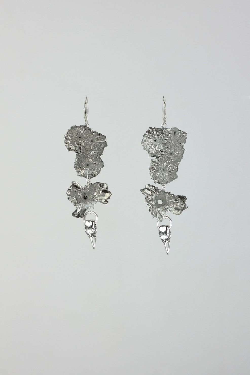 Chrome coated quartz crystal slice earrings