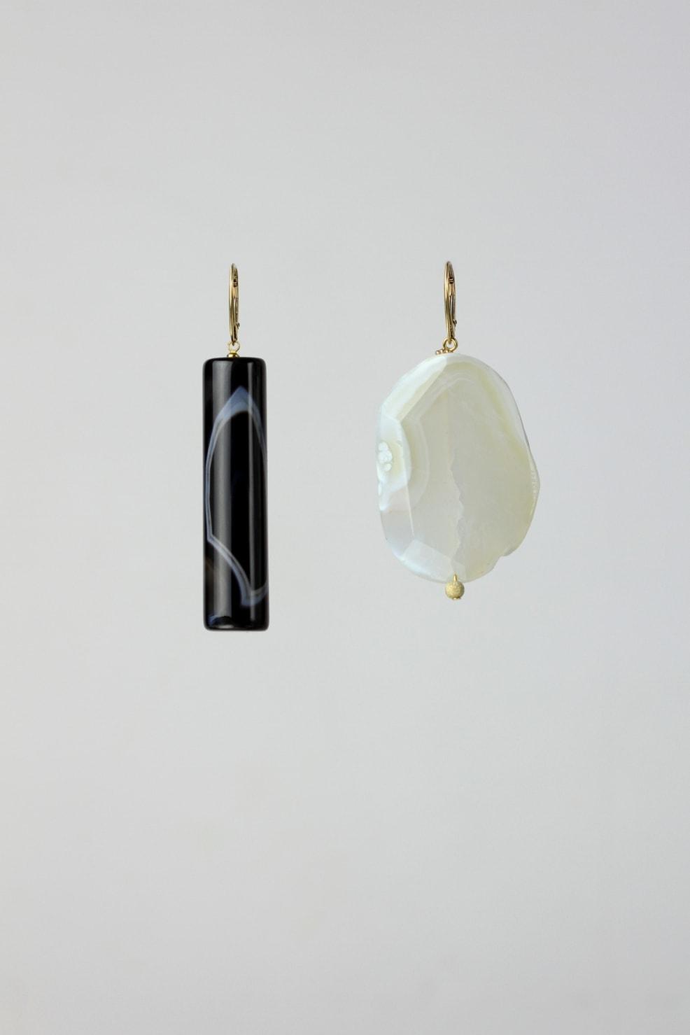 Botswana and Brazilian agate earrings
