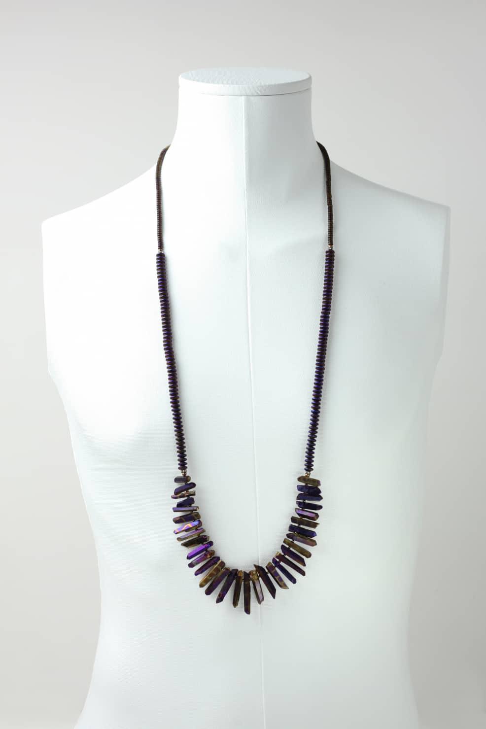 Titanium coated quartz and hematite necklace
